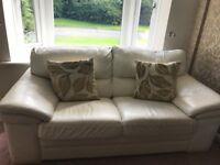 2 seater cream leather sofas