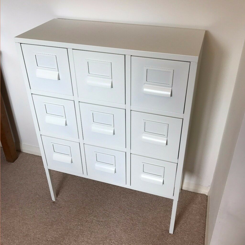 White ikea sprutt metal office cabinet drawers in