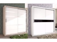 **MANY COLOURS** NEW Great Quality 2 Sliding Door Wardrobe White / Black and Oak / White
