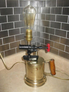 VINTAGE BLOW TORCH REPURPOSED INTO STEAMPUNK LAMP