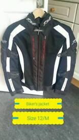 Bikers jacket Size/12 hardly used