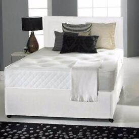 "💥❤🔥Best Buy 💥❤🔥Cheapest Offer💥🔥New Double/Small Double Divan Bed w 9"" Deep Quilt Mattress"