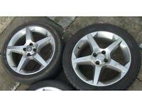 "(ONLY x2) Vauxhall Corsa/Tigra 17"" Penta Alloy Wheels & Tyres. 4 Stud. SRi/SXI/CDTI"