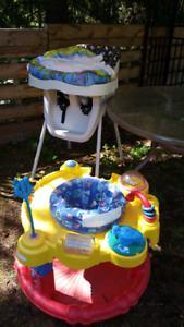 Outdoor excersaucer and highchair