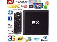 EX Smart TV Box Android 6.0 S905X Quad Core 2GB+8GB 4K*2K 3D WiFi 1080P Mini PC