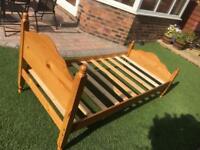 Single solid oak bed frame.