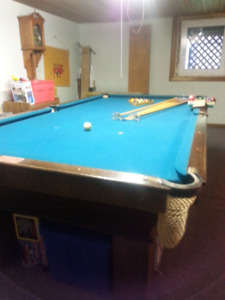 Antique Oak Pool Table and Accessories