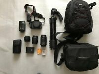Digital SLR 18.0 MP Cannon 6OOD camera with accessories