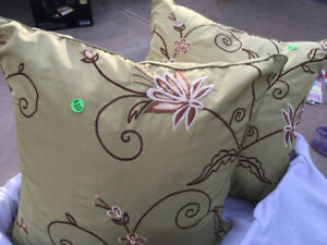 2  olive scroll decorative pillows