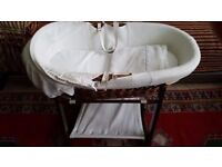 Beautiful Rocking Moses basket for sale