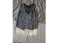 Sleevless loose fit waistcoat with fringe detail brand new size Small