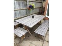 Solid wood garden furniture seats 8