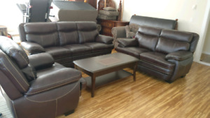 3 piece genuine leather sofa set and 3 piece coffee table set