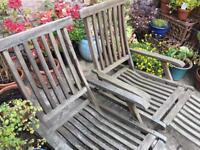 2x Teak Steamer Chairs for Garden