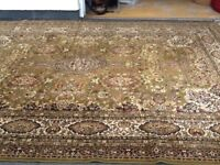 "Belgian Keshan carpet, 12ft x 9ft plus fringe with matching runner 27""12ft perfect condition"