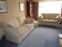 Quality Cream Fabric Suite - 2 + 3 seater sofas + storage footstool