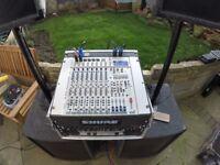 PA, Flightcase, Mixing Desk, Amp, Compressor, 400 W Subs, 300 W Tops, Microphones