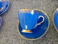 Tea set, blue with gold detail design