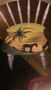 Hand painted wooden chairs (3)