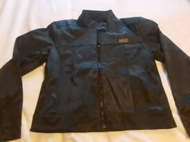 Large black satin /leather look jacket