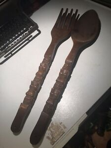Large spoon and fork set. Wood.