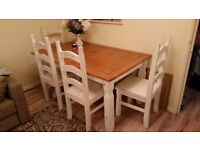 Shabby chic style wooden dining table and 6 chairs