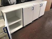 White Storage Cabinets on Wheels