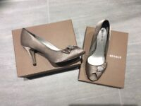 "Stunning, Peep-toe, taupe satin shoes, 3.5"" heels, size 6.5/7, Belmont area"