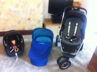 Maxi-cosi 3 in 1 baby pushchair travel system, car seat,