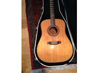 Takamine Acoustic Guitar. Solid wood Koa and Spruce. Good condition