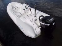 Ballistic Super tender rigid inflatable boat RIB 2011 40hp EfI 24.8hrs use brand new 750kg trailer