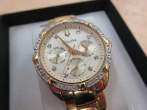 **DIAMOND SET CASE** Bulova Women's 98R171 Quartz Watch