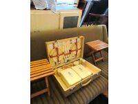 Retro Vintage 1950's Sirrah Pocnic Case plus 2 Small Folding Stools Campervan Caravan
