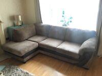Large Brown Fabric DFS Corner Sofa
