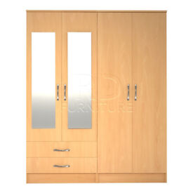 Cornwall 4 door 2 drawer mirrored wardrobe beech effect