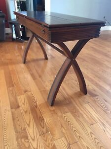 Hardwood table that folds open