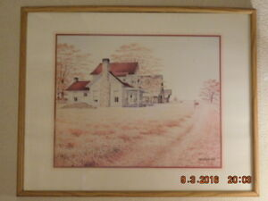 LARGE FARMHOUSE WITH BARN FRAMED PRINT - PRICE REDUCED!!!