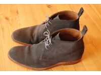 Suede Leather Shoes Formal/Casual (Grey, Desert Boots, Grenson Marcus Size 8.5)