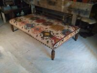 large Handmade kazak kilim upholstered coffee footstool 145x85cm antique leg surrey london interiors