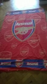 Two Arsenal Childrens single duvet set covers and fleece blanket