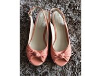 Coral Wedge Sandals Size 7 wide