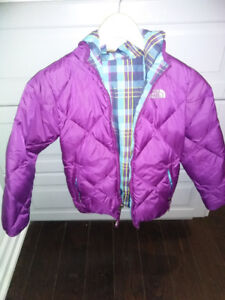 Girls North Face reversible coat with hood