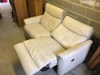 Cream leather electric reclining sofa 2-3 seats