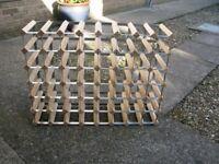 Free standing Pine & Galvanised steel 56 Bottle Wine Rack