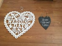 Wedding accessories - wedding day white heart and slate mr and mrs