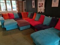 Amazing bright coloured large DFS skittle sofa