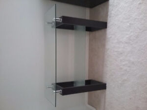 Awesome like new glass / wood console table.
