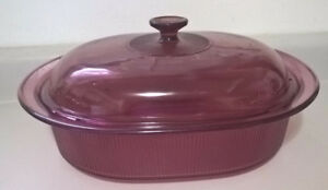 Pyrex Vision Ware Oval Cranberry Dutch Oven Roaster Casserole