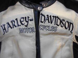 Womens Harley Davidson Cream & Black Leather Jacket