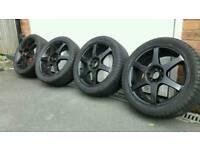 Mutli fit 5 stud alloys Matt black 3 good tyres 225 45 17